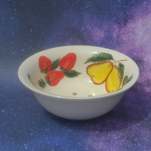Vintage Fruit Print Ceramic Strainer Colander Bowl
